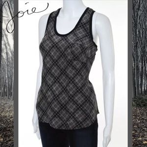 JOIE Cute Black/Beige Scoop Silk Checkered Top